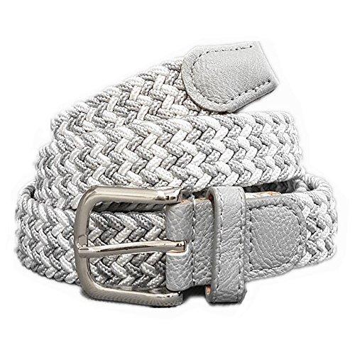 Unisex Flechtgürtel elastisch Damen Herren Gürtel geflochten Stretch ES (Grau Weiß)