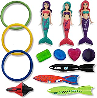 ArtCreativity Swimming Pool Diving Water Toys for Kids - 14 Piece Set - Assorted Dive Toy Set for Summer Fun and Pool Party - Durable Supplies and Accessories - Swim Game for Boys, Girls, and Toddlers