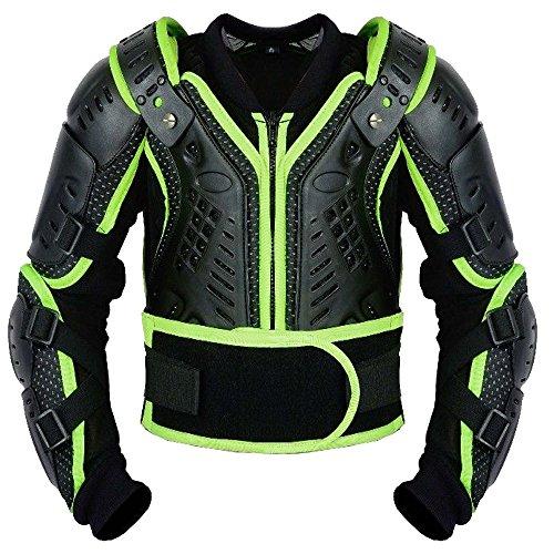 Kinder-Körper-Rüstung Motocross Motorrad Motorrad Schutz Jacke Motorrad Körper Schutz Bergradfahren (Grün/Green - XL - Bis 12 Jahre alt)