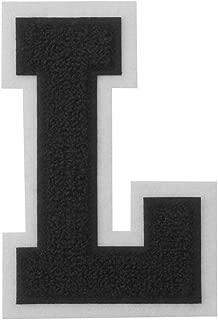 L - Black on White - 4 1/2 Inch Heat Seal/Sew On Chenille Varsity Letter