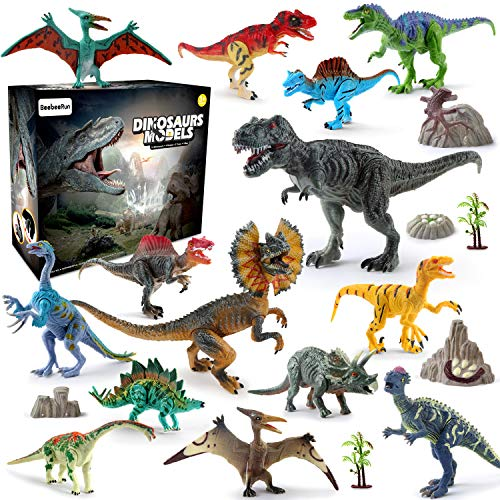 BeebeeRun Juego de Dinosaurios,  21 Piezas Figura de Dinosaurio Juguete Dinosaurio Regalo para Chicos Niños