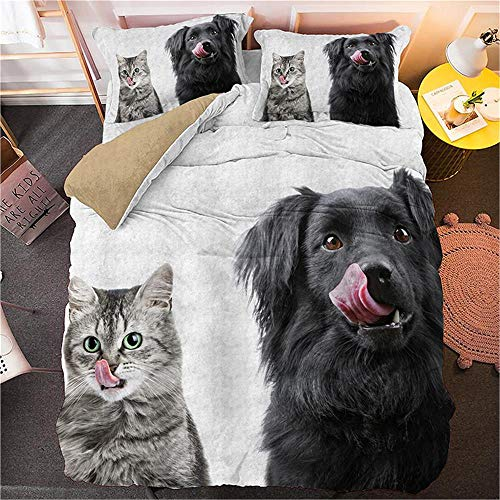 WSKMHK Bedding Duvet Cover Set With 4 Piece Cute Animal Cat Dog 135X200Cm 3D Printed Duvet Case Set, 1 Piece Bed Sheet 2 X Pillowcases 1 X Quilt Case Easy To Care Soft Machine Washable Bedding Hotel B