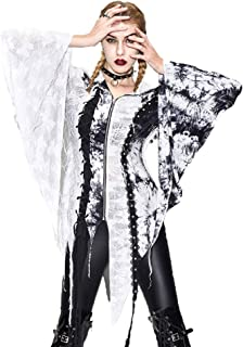 Devil fashion Women's Steampunk Coat Jacket Swallow Tail Crop Zipper Lace Feather Gothic