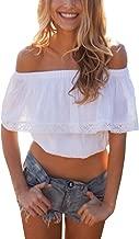 Relipop Women's Short Sleeve Shirt Strapless Blouses Off Shoulder Crop Tops