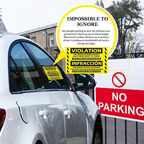 """Parking Violation Stickers Hard to Remove (Yellow) 100-Pack Bilingual Towing Messages for Warning Cars - Hard to Remove and Super Sticky 5"""" x 8"""" by MESS Photo #2"""