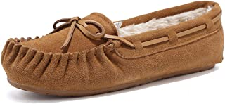 EQUICK Women' s Leather Loafers Casual Moccasin Driving Outdoor Shoes Indoor Flat Slip-On Slippers