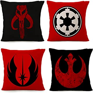 Bayyon Decorative Throw Pillow Covers Set of 4 Cotton Linen Cushion Star Wars Covers 18 x 18 inch (Set of 4)