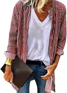 Women Casual Striped Button Down Shirt - Women Leisure Loose Long Sleeve Blouse Tops