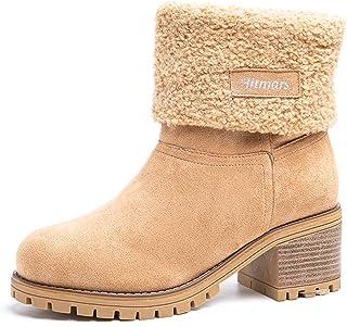 comprar comparacion Botas Mujer Invierno Tacon Forrado Calentar Botas Altas Botines Moda Casual Outdoor Zapatos de Nieve Snow Boots 6 cm Negro...