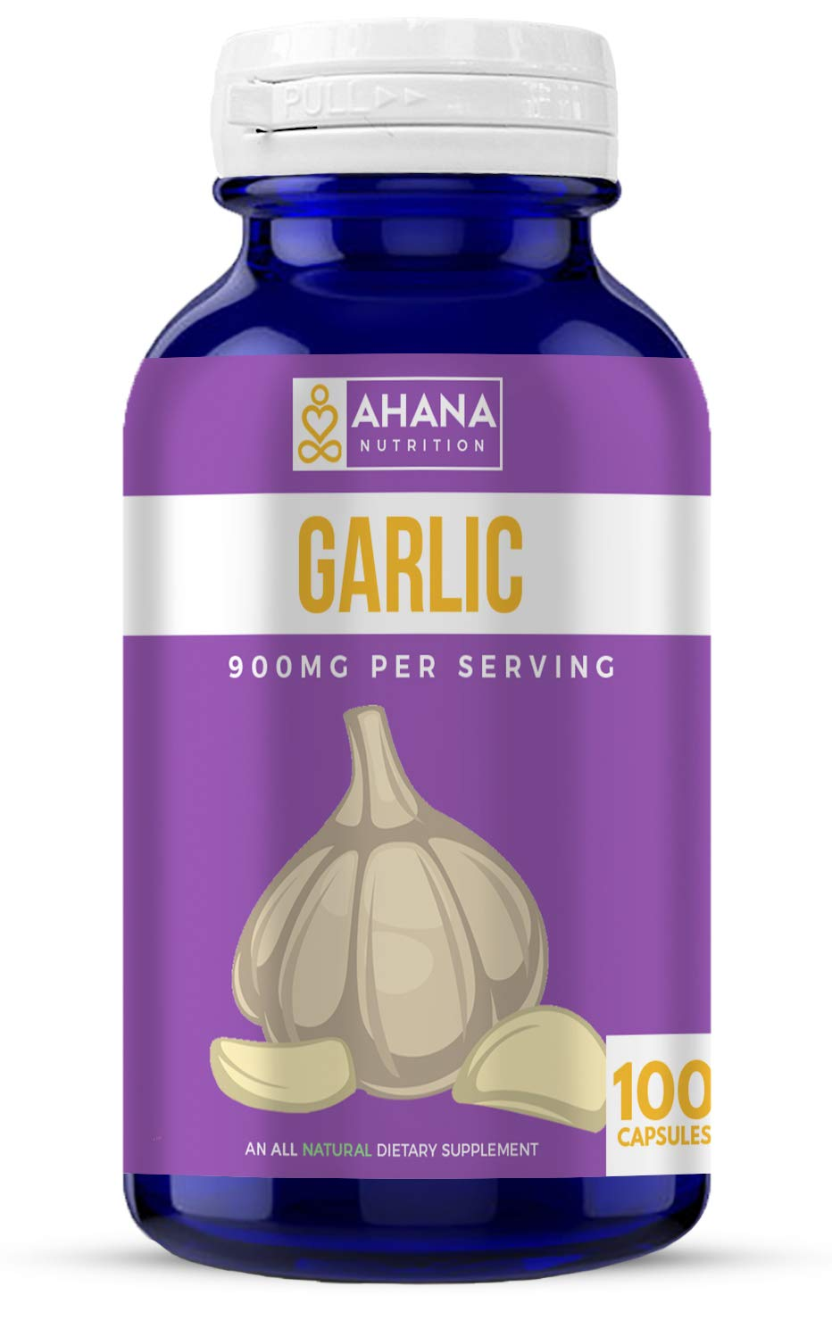 Ahana Nutrition Garlic Supplement – Odorless Garlic for Heart Health and Cholesterol Support (450mg – 100 Capsules)