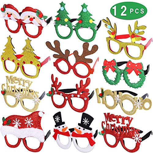 Max Fun 12 Pcs Holiday Glasses Christmas Glitter Party Glasses Frames with 12 Designs for Christmas Parties, Holiday Favors, Photo Booth (One Size Fits All)
