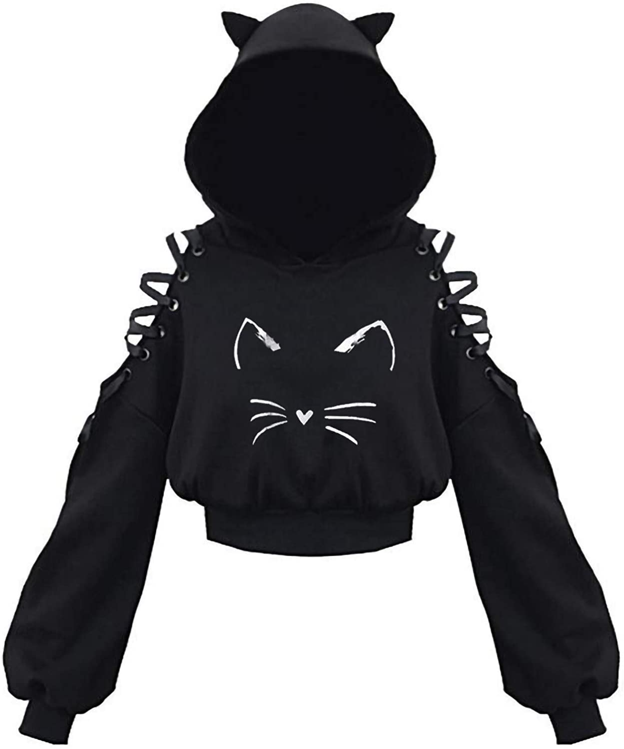 Cute Summer Tops for Women Cat Ear Hoodie Pullover Lace-up Cold Shoulder Lantern Sleeves Shirts Hooded Sweatshirt