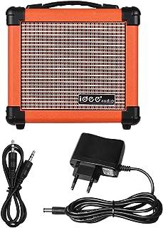 Muslady - Amplificador de altavoz para guitarra eléctrica portátil de 10 W con amplificador combo de dos canales ajustable, color naranja