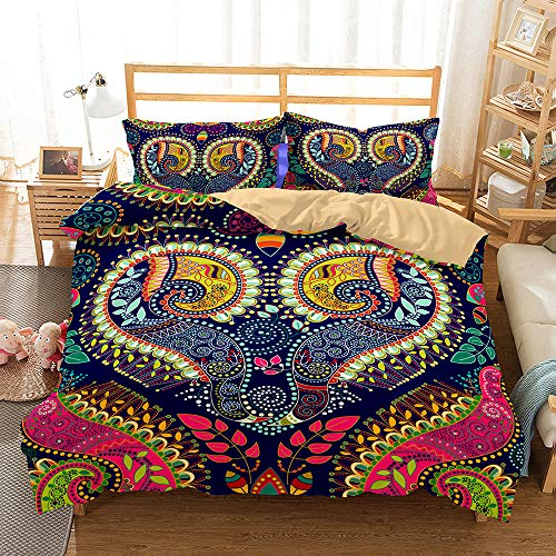 Bedding Set 3D Colored Paisley Pattern 4 Pieces,Morbuy Quilt Cover Microfiber Wrinkel Resistant,Includes Duvet Cover with Zipper Closure*1 Pillowcases*2 FlatSheet*1 (navy blue,Double-200x200cm)