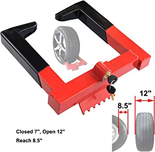 OKLEAD Trailer Wheel Locks clamp - Tire Lock Anti Theft Wheel Boot tire Claw Security Boots for ATV Trailers Black/Red 2 Keys