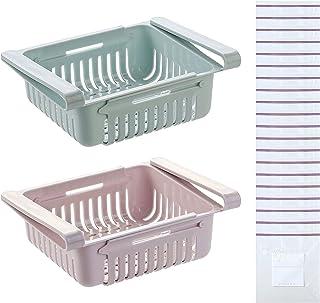 2 Organisateur de Tiroir de Réfrigérateur tiroirs de rangement pour réfrigérateurrétractables avec 20 sacs à joint de poig...