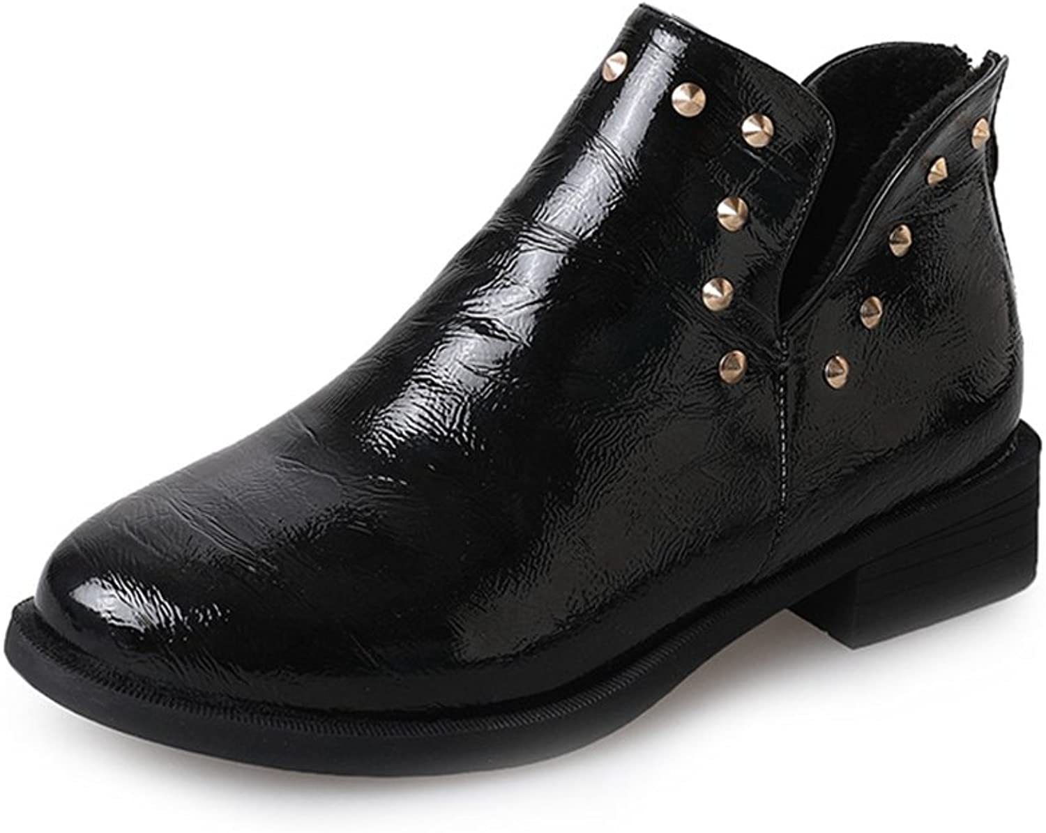 Btrada Winter Womens Rivet Motorcycle Ankle Boots shoes Low Square Heel Slip-On Chelsea Boots