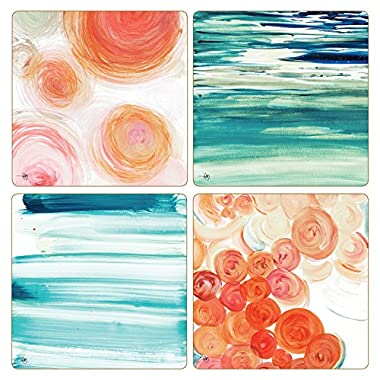 CoasterStone Orange Contempo  Absorbent Coasters (Set of 4), 4-1/4 , Multicolor