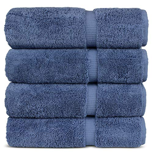 "Luxury Hotel & Spa 100% Cotton Premium Turkish Bath Towels, 27"" x 54'' (Set of 4, Wedgewood)"