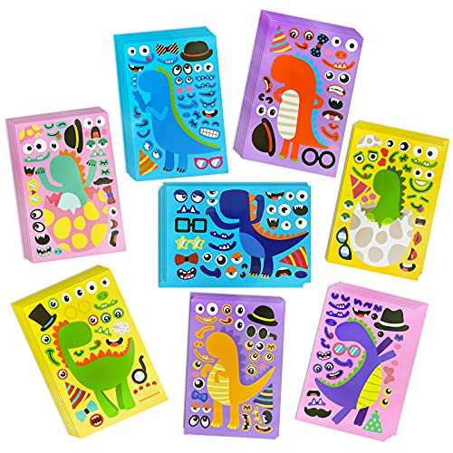 Tocwick 48 PCS Make a Face Stickers, Make Your Own Dinosaur Sticker 8 Kinds DIY Cartoon Dino Stickers, Birthday Party Favor Gift for Boys and Girls