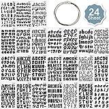 Qpout 24pcs Plantillas de letras y números,con anillo de almacenamiento Diferentes fuentes Plantillas de alfabeto de plástico para niños Pintura/Scrapbook/Diario Fiesta de cumpleaños Regalo Decoración