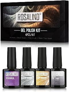 ROSALIND 4pcs/kit Gel Polish Kit Primer Base Coat Top Coat Matt Top Coat 10 ml/pc Bright For Nail Art Design