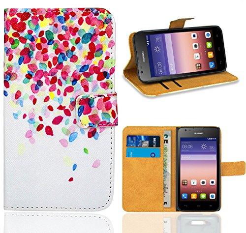 Huawei Ascend Y550 Handy Tasche, FoneExpert Wallet Case Flip Cover Hüllen Etui Ledertasche Lederhülle Premium Schutzhülle für Huawei Ascend Y550