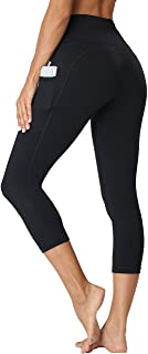 Oalka Women's Yoga Capris Running Pants Workout Leggings