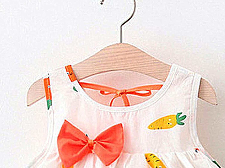 Pastel Toddler Dress Carrot Printing Strap Mini Tank Dress Cute Dress and Hat