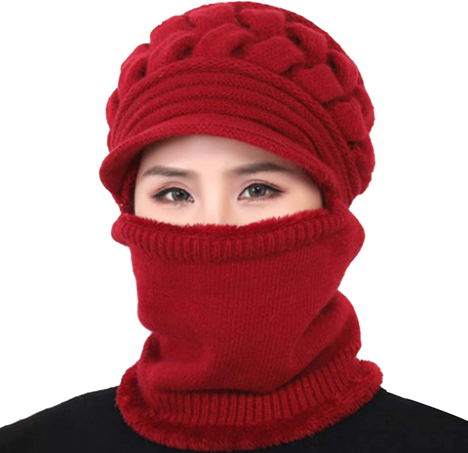shlutesoy Knitted Hat Scarf Set,Women Winter Knitted Windproof Warm Beanie Cap Neck Gaiter Hat Scarf Gift Set Red