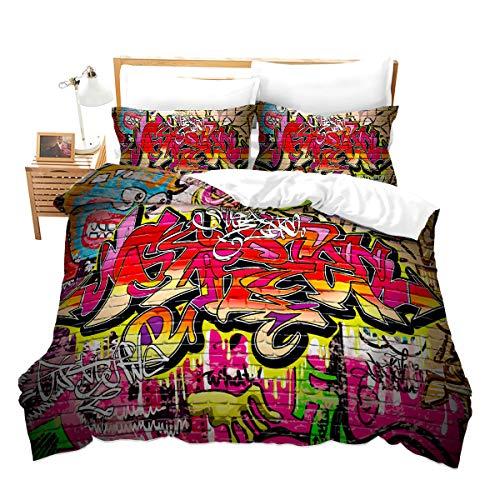 Loussiesd Juego de cama infantil con diseño de grafiti de Sreet Art de diseño 3D, funda de edredón con funda de almohada de 135 x 200 cm + 80 x 80 cm, para cama individual, para niños y niñas