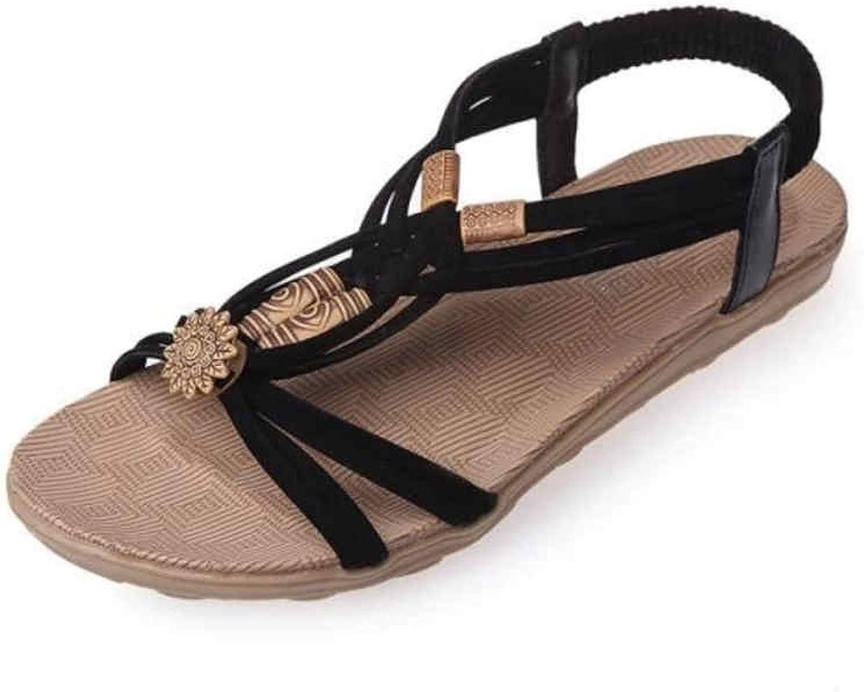 2019 Flat Casual Sandals Fashion Summer Women shoes Leisure Female Ladies Sandals,Black,37