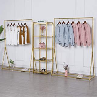 Modern Gold Garment Clothes Display Racks Retail Display Clothing Rack Wrought Iron Single Rod Floor-Standing Hangers Clothes Shelves Made of Sturdy Iron with Spacious Storage Space