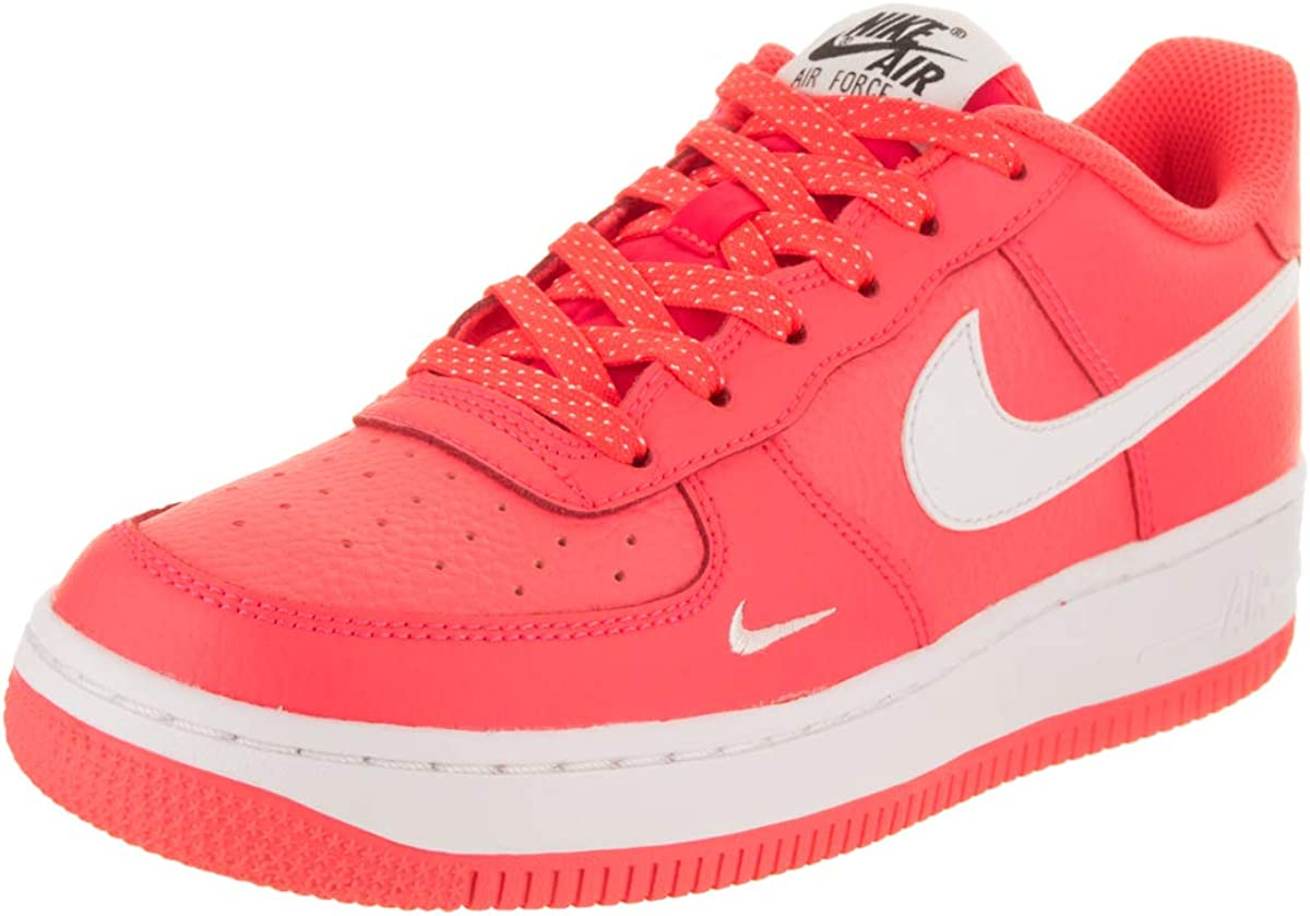NIKE Kids Air Force 1 (GS) Hot Punch/Wht/Wht Basketball Shoe
