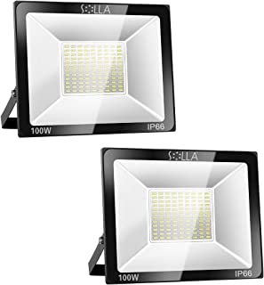 2 Pack SOLLA 100W LED Flood Light, IP66 Waterproof, 8000lm, 550W Equivalent, Super Bright Outdoor Security Lights, 3000K Warm White, Outdoor Floodlight for Garage, Garden, Lawn and Yard