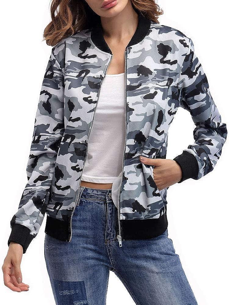 AEL Women's Baseball Biker Bomber Jacket Long Sleeve Zip up Printed Casual Short Coat