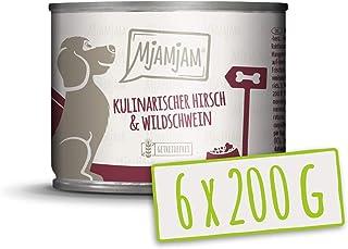 MjAMjAM - Pienso acuoso para Perros - Ciervo y jabalí Gourmet con arándanos afrutados - Natural - 6 x 200 g