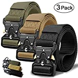 RONGQI 3Pack Tactical Belt,Military Style Belt,1.5' Nylon Riggers Belts for Men,Heavy-Duty Quick-Release Metal Buckle