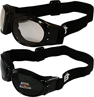Two (2) Pairs Birdz Eagle Padded Motorcycle Goggles Airsoft Googles Comes with Clear, Polarized Smoke, Day and Night ridin...