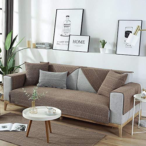 YUTJK Funda de sofá de Esquina,Fundas de Asiento de sofá de Tela para Sala de Estar,Funda Protectora de Muebles,Cubierta de sofá de algodón Tejido de algodón-marrón_90×70cm