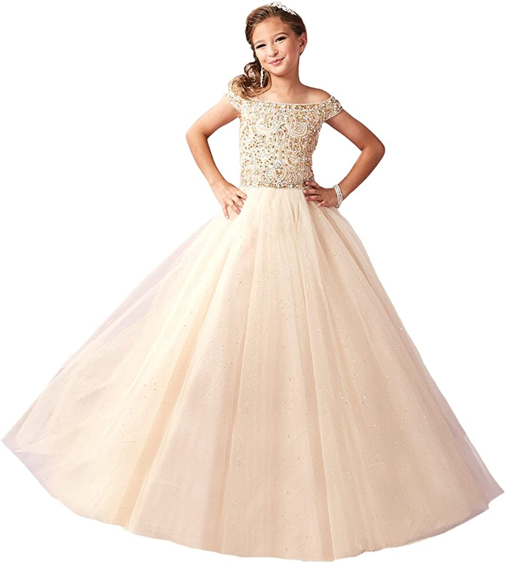 Zhiban Little Girls Sparkle Tulle Glitz Princess Lowest price challenge wholesale Pageant Dresses