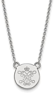 925 Sterling Silver Rhodium-plated Laser-cut University of Virginia Medium Pendant w//Necklace 18