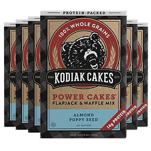 Kodiak Cakes Power Cakes Protein Pancake Flapjack and Waffle Mix, Almond Poppyseed, 18 Ounce, Pack of 6