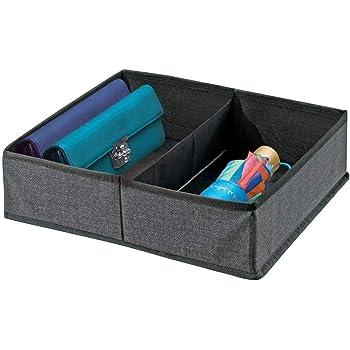 mDesign Organizador de Armario – Caja de Almacenamiento con 2 Compartimentos para ordenar armarios o cajones – Caja de Tela para Guardar Calcetines, Ropa Interior, etc. – Gris Oscuro: Amazon.es: Hogar