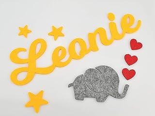 """Türbuchstaben""""Elefant mit Herzen"""" - Farbe wählbar - Filzbuchstaben Name Dekoration fürs Kinderzimmer"""
