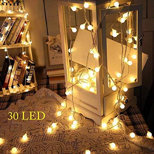 kleine lichterkette, 3M 30 LED Globe Lichterkette,3AA Batteriebetrieben,Kugel String Licht,Dekoration für Weihnachten,Hochzeit,Party,Zuhause sowie Garten,Balkon,Terrasse,Fenster,Treppe,Bar(Warmweiß) …
