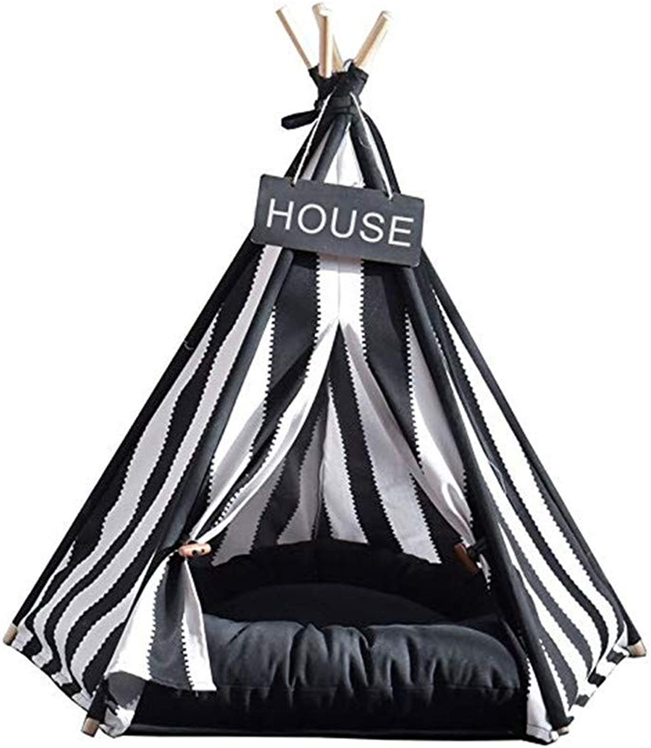 DJVD Pet Tent Bed Foldable Portable Washable Cotton Canvas Bed House For Dog(Puppy) & Cat  Black And White Strip Style