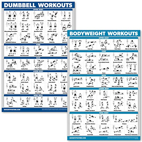 """QuickFit Dumbbell Workouts and Bodyweight Exercise Poster Set - Laminated 2 Chart Set - Dumbbell Exercise Routine & Body Weight Workouts (18"""" x 27"""")"""
