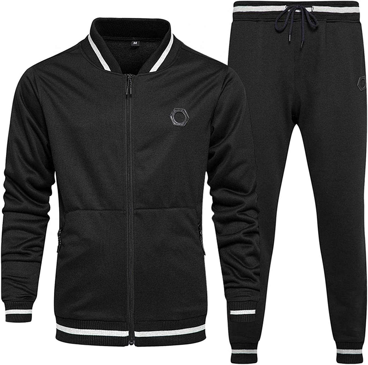 Mens 2 Piece Tracksuits Stand Collar Full Zipper Sport Coats & Long Pants Casual Slim Fit Workout Athletic Outfits