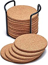 Coasters for Drinks with Holder Heat Resistant Moisture Absorbent Anti Scratch Cork Coasters 16 Sets